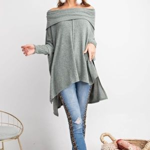 Easel oversized cowl neck top in olive Sz L